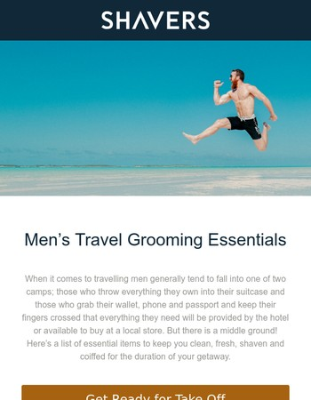 Men's travel grooming essentials plus other useful tips