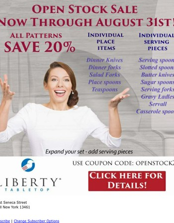 Open Stock SALE - 20% OFF!  Made in USA Flatware