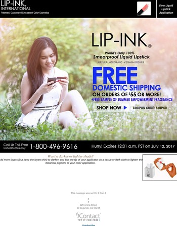 Free Shipping & Free Sample!