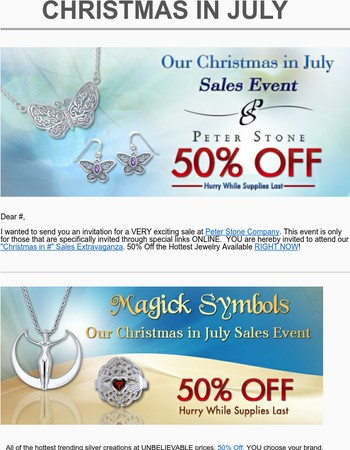 Christmas in July - While Supplies Last - 50% Off