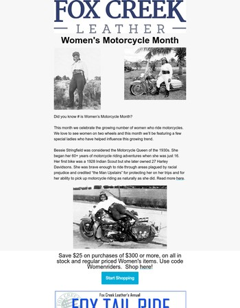 Celebrate Women Riders With These Savings!