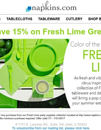 Save 15% on Fresh Lime Party Supplies