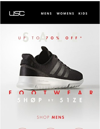 Shop by size! Up to 70% OFF footwear.