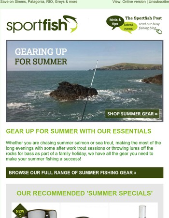 Summer fishing gear & our sale continues
