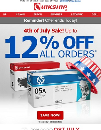 Our 4th of July Sale Ends Today: Up to 12% Off Ink & Toner
