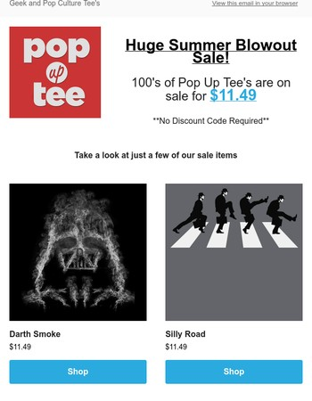 $11.49 Pop Up Tee's. Biggest sale of the Summer!