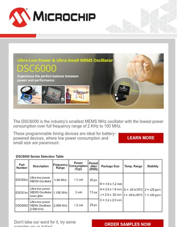 Introducing the DSC6000 Family of Ultra-Low Power and Ultra-Small MEMS Oscillators