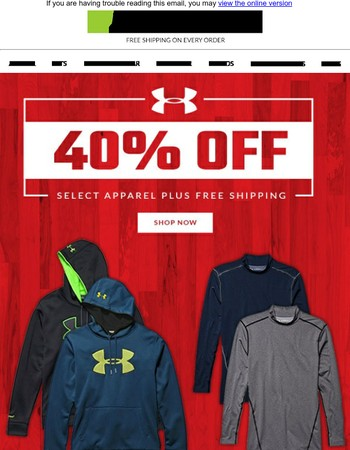Save Big on Under Armour! 40% off