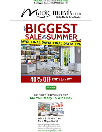 Save Big on All Wallpaper Wall Murals -- 40% Off Savings Ends Soon -- Take Advantage Of Our Biggest Summer Sale
