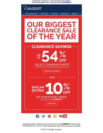 Save up to 54% during our Biggest Clearance Sale!