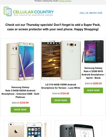 Thursday Deals: Unlocked Galaxy Note 5 64GB, $194 Verizon LG V10 64GB, $209 Sprint Galaxy Note 4 32GB, and more...