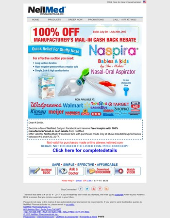 Become a fan of NeilMed Baby and get free Naspira with manufacturers mail in cash rebate