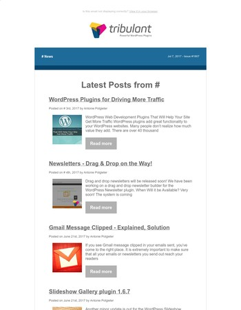 Latest Posts from Tribulant Software