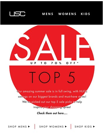 Top sale picks! Up to 70% off!!