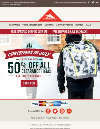 It's Christmas in July! Take an Extra 50% off Clearance!