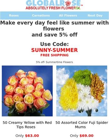 5% off- Summertime Flowers
