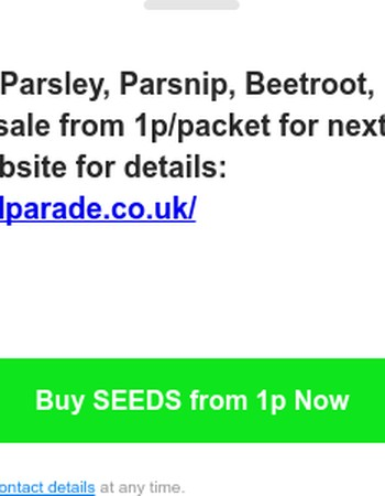 Flash Seeds Sale from 1p Parsnip, Pepper, Tomato, Parsley and more...