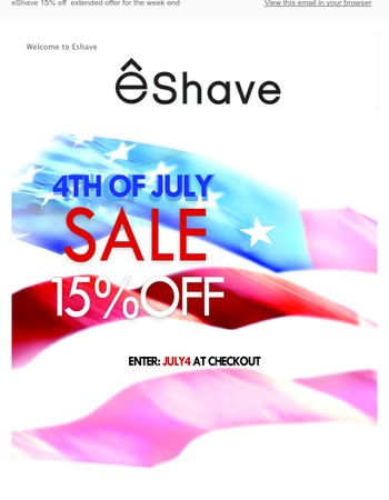 eShave 15% off extended offer for the week end