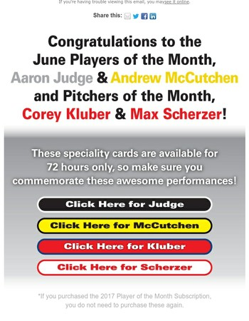Congratulations to the June Players of the Month!