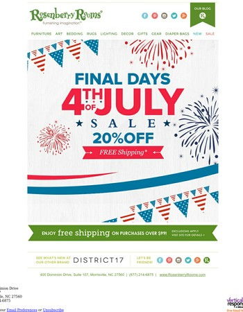 FINAL DAYS! 4th of July Sale...Save 20%