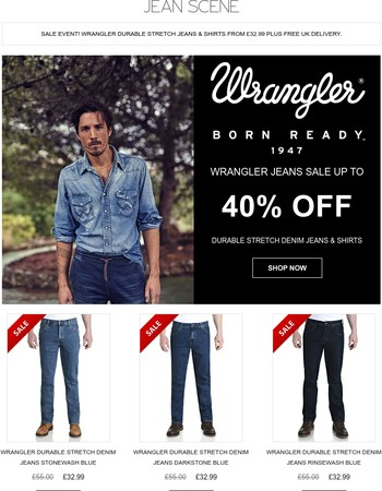 Wrangler Durable Stretch Jeans & Shirts | From £32.99