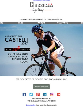 Last Chance To Save 20% On Current Castelli