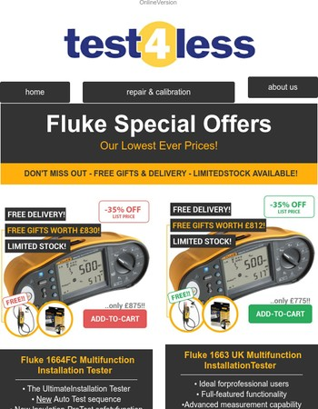 -35% Off Fluke Multifunction Testers + Free Gifts Worth £830 - Offer Ends Soon!