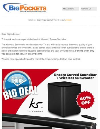 40% Off Kitsound TV Soundbar with Wireless Subwoofer