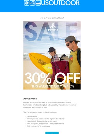 30% off Prana this weekend only!