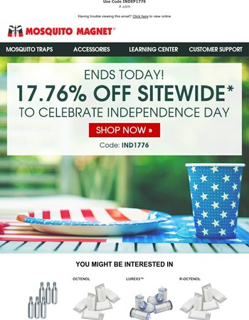 Final Day to Celebrate Independence Day with 17.76% Off Sitewide!