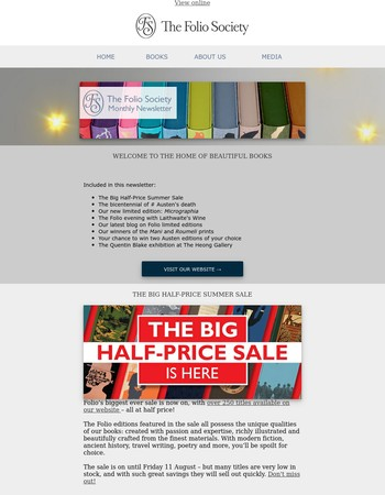Your Folio Society newsletter | The Big Half-Price Summer Sale is here! | Love books, Love Folio