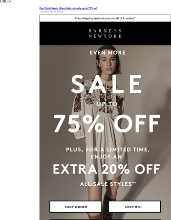 Take an Extra 20% Off Sale!