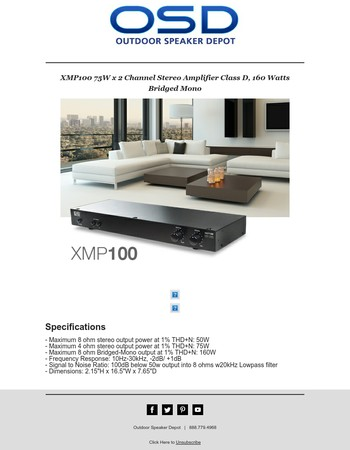 New Product - XMP100 75W x 2 Channel Stereo Amplifier Class D, 160 Watts Bridged Mono