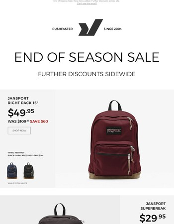 Save up to $60 off Jansport Backpacks. Plus more!