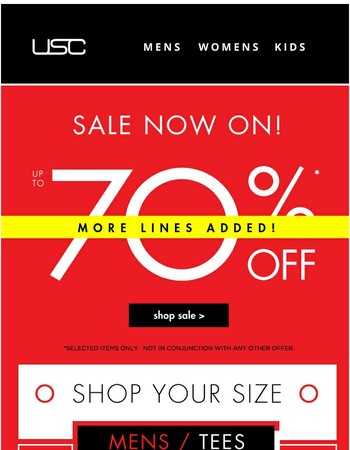 Size up our sale - up to 70% OFF!!