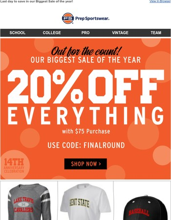 THIS IS IT! 20% OFF EVERYTHING