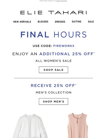 Final Hours! Extra 25% Off Sale Ends Today