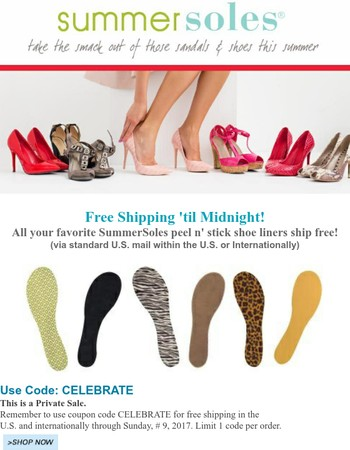 Ends tonight: Free Shipping on SummerSoles insoles