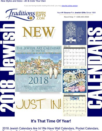 Mary, Our New 2018 Jewish Calendars Are In Stock