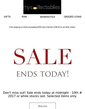 Hello Friend, Sale Ends Today! Don't miss out!
