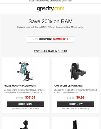Final Day to Save 20% on all RAM Mounts