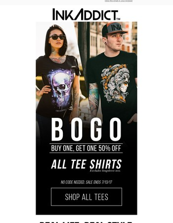 BOGO 50% Off All Tees | Limited Time Only