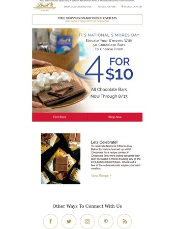 It's National S'mores Day! Enjoy 4 For $10 Chocolate Bars.