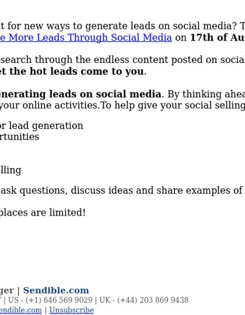 Webinar: How to Generate More Leads Through Social Media
