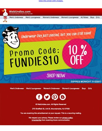 Save 10% on any WebUndies purchase! Promo code included