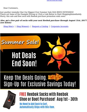 FREE SOCKS with Reebok Purchase + SUMMER BLOWOUT SALE! (Ends August 31st)