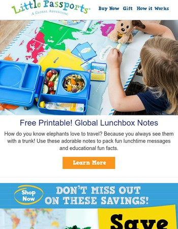 Printable Lunchbox Notes with a Global Twist!