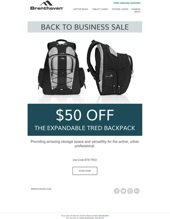Back to Business Sale! $50 OFF Our Most Spacious Backpack EVER