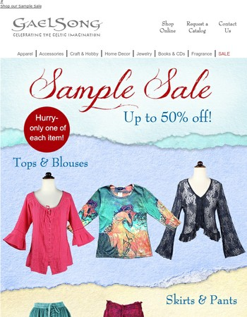 50% off Apparel for Fall! Hundreds of items on sale!