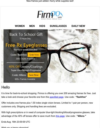 Free Glasses for Your Back-to-School New Style